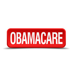 Obamacare red 3d square button isolated on white vector