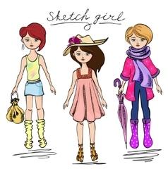 Sketch girl in summer attire vector