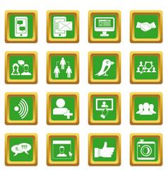 social network icons set green vector image