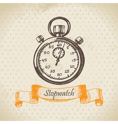 Stopwatch hand drawn vector image vector image