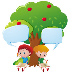 Two boys writing under the tree vector