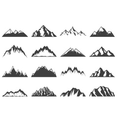 Vintage Mountains Icons Collection vector image vector image