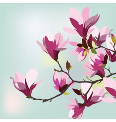 Vintage Watercolor Background with Magnolias vector image