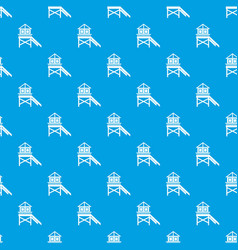 Wooden stilt house pattern seamless blue vector