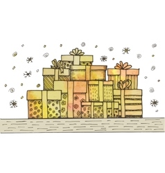 Hand - drawn pile of christmas gifts on white vector