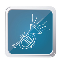 button of trumpet with background blue and hand vector image