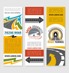 Road service or travel company banners set vector