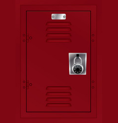 red locker and combination lock vector image
