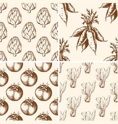 vintage vegetable patterns vector image