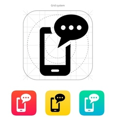 Mobile phone with message icon vector