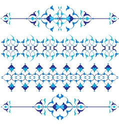 Blue oriental border and ornament vector