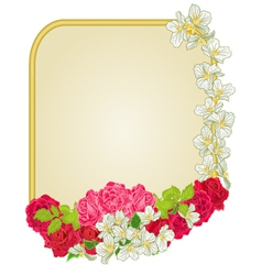 Golden frame with roses and jasmine greeting card vector image