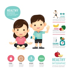 Health time food and sport people program design vector