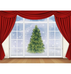 View pine tree out the window with red curtains vector