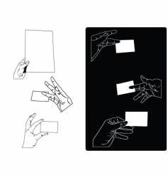 hands holding cards vector image