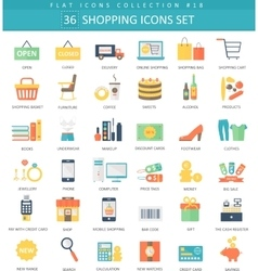 Shopping color flat icon set elegant style vector