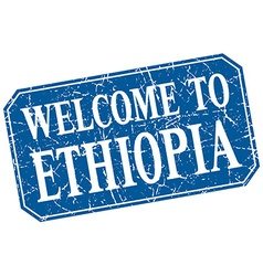 Welcome to ethiopia blue square grunge stamp vector