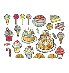 Set of cute colorful sweets vector