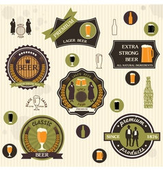 Beer badges and labels in retro style design vector image vector image