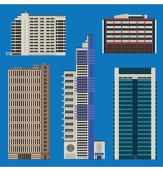 Buildings set with skyscrapers and hotels vector