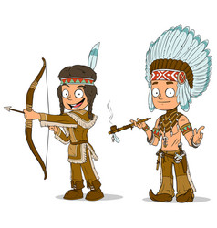 Cartoon indian chief young warrior characters set vector