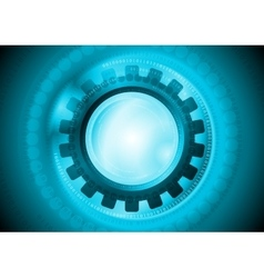 Cyan gear and binary code tech background vector