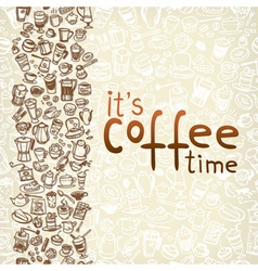 doodle coffee and tea seamless background vector image