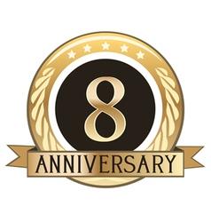 Eight year anniversary badge vector