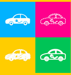 electric car sign four styles of icon on four vector image