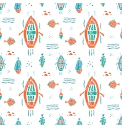 Fishing pattern in naive lino style vector