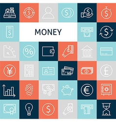 Flat Line Art Modern Money and Finance Icons Set vector image
