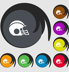 Football helmet icon sign symbols on eight colored vector