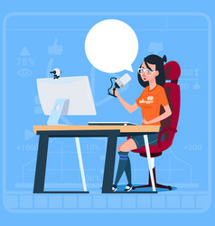 Girl blogger sit at computer streaming video blogs vector