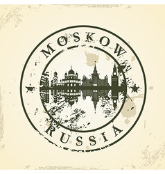 Grunge rubber stamp with moskow russia vector