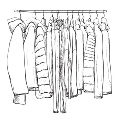 Hand drawn wardrobe sketch Warm clothes vector image vector image