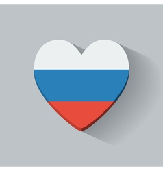 Heart-shaped icon with flag of russia vector