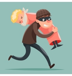 Kidnapper Running Away Hostage Character Icon vector image vector image