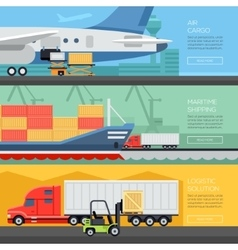 Logistic flat banners set of maritime rail and air vector image vector image