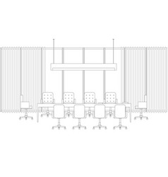 Meeting room line interior vector
