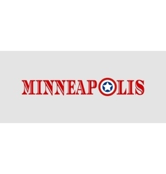 Minneapolis city name with flag colors vector