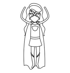 Monochrome silhouette faceless of superhero woman vector