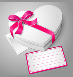 realistic blank white heart shape box with vector image