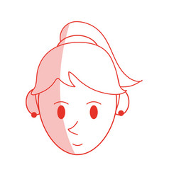 Red shading silhouette cartoon face woman with vector