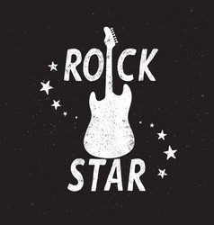 rock star grunge emblem with guitar vector image vector image