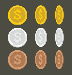 set flat cartoon coin icons vector image vector image