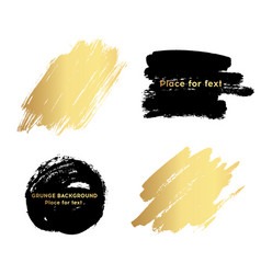 Set of black and gold paint ink brush strokes vector
