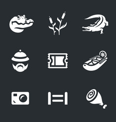Set of crocodile farm icons vector