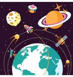Space flat vector image vector image