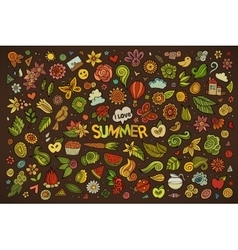 Summer nature symbols and objects vector image vector image