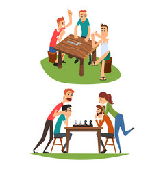 table games set friends playing domino and chess vector image